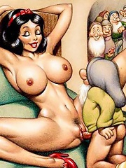 Bitch Snow White showing her cunt and getting forced to blow